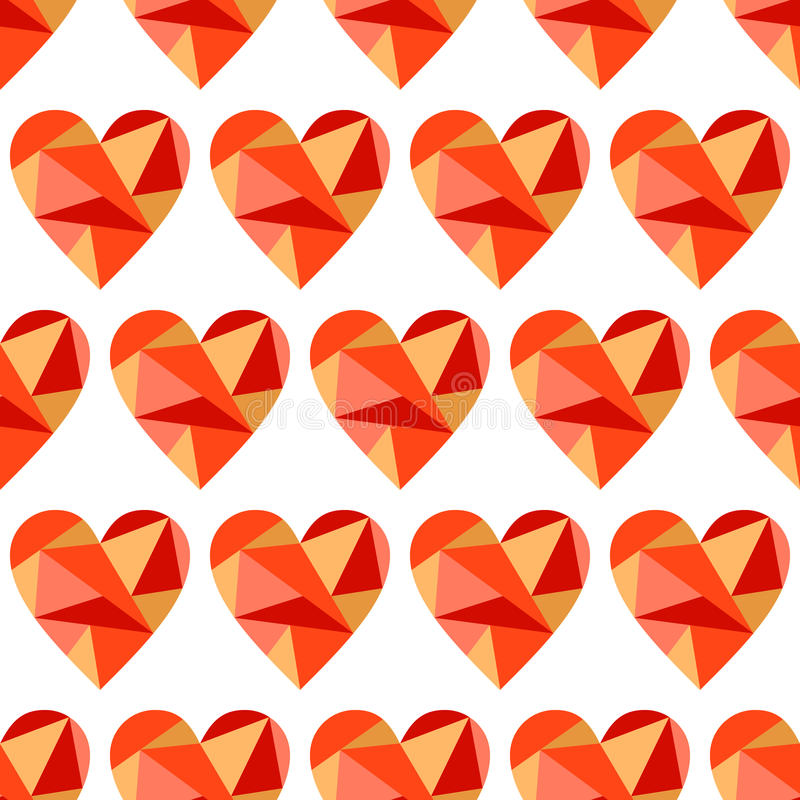 Vector seamless pattern, graphic illustration. Vector seamless pattern with red abstract hearts on the white background. Polygonal design. Geometric triangular royalty free illustration
