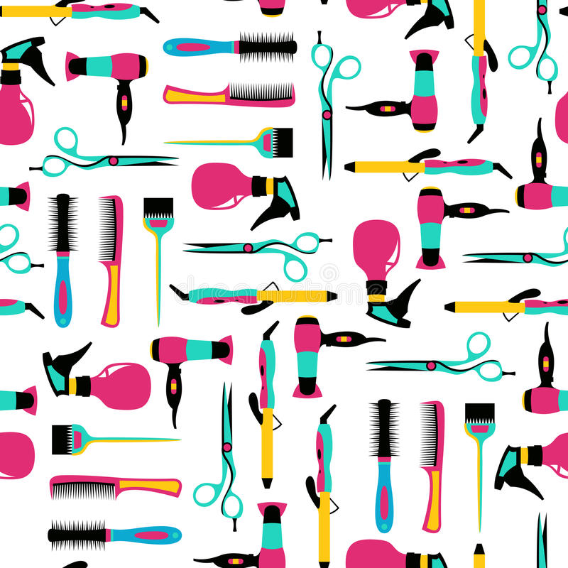 Vector seamless pattern of hairdressing color equipment stock images