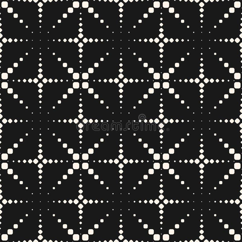 Vector seamless pattern with dotted crosses, flashes, fireworks. Vector seamless pattern, halftone dotted lines. Texture with small dots, crosses, flashes vector illustration