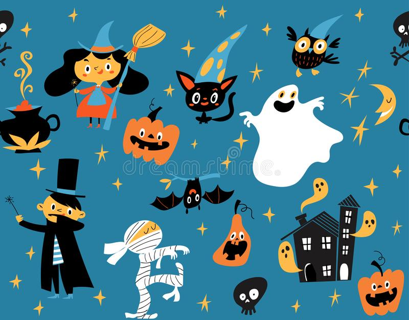 Vector seamless pattern for Halloween with funny cartoon characters. stock illustration
