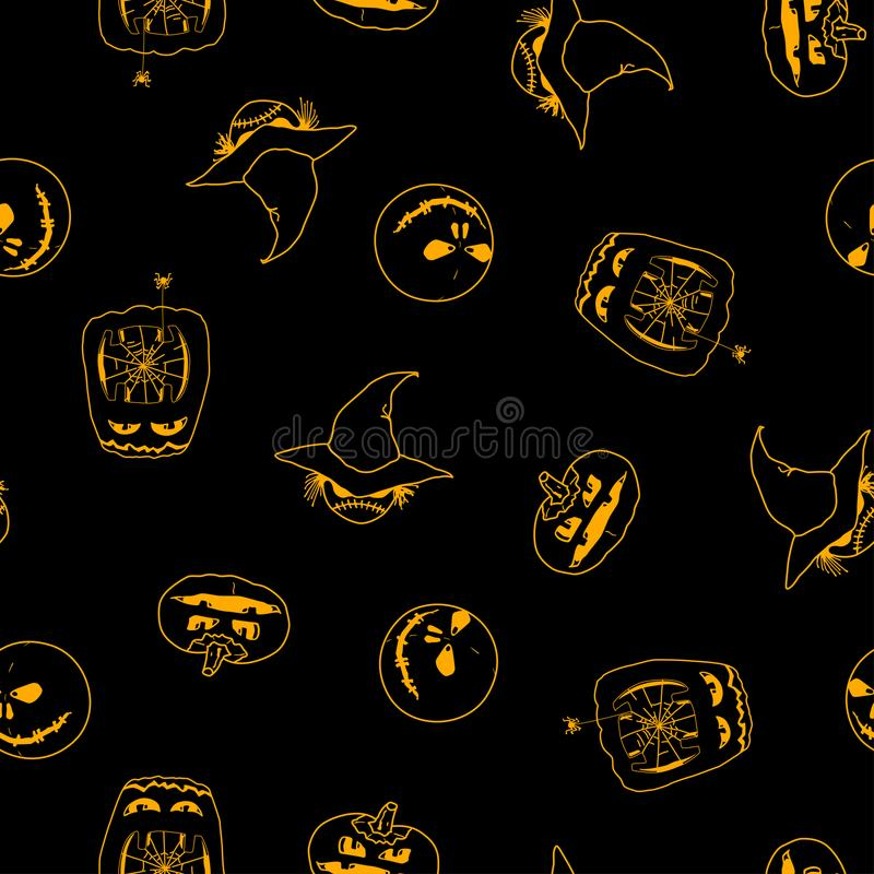 Vector Seamless Pattern Of Halloween Pumpkins Ghost And Monster