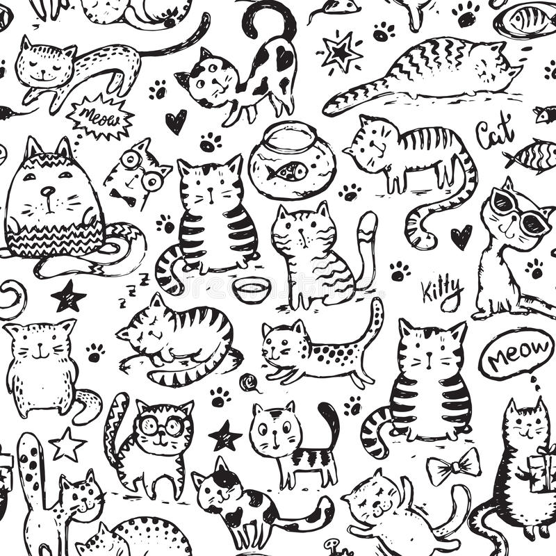 Vector seamless pattern with hand draw funny cats in sketch style royalty free illustration