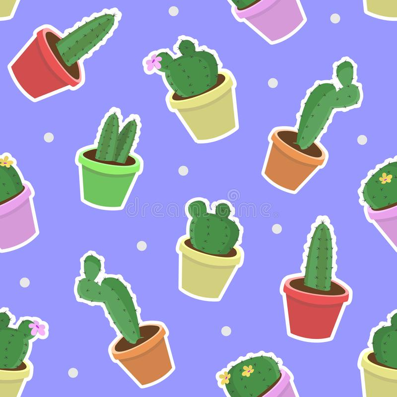 Vector seamless pattern with hand drawing potted cactus on blue background. royalty free illustration