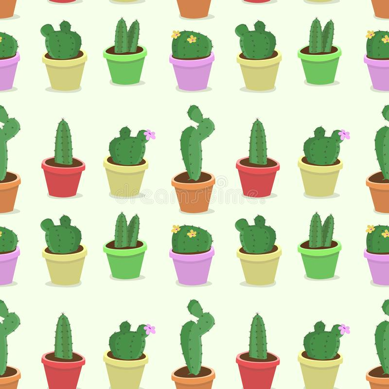Vector seamless pattern with hand drawing potted cactus on white background. vector illustration