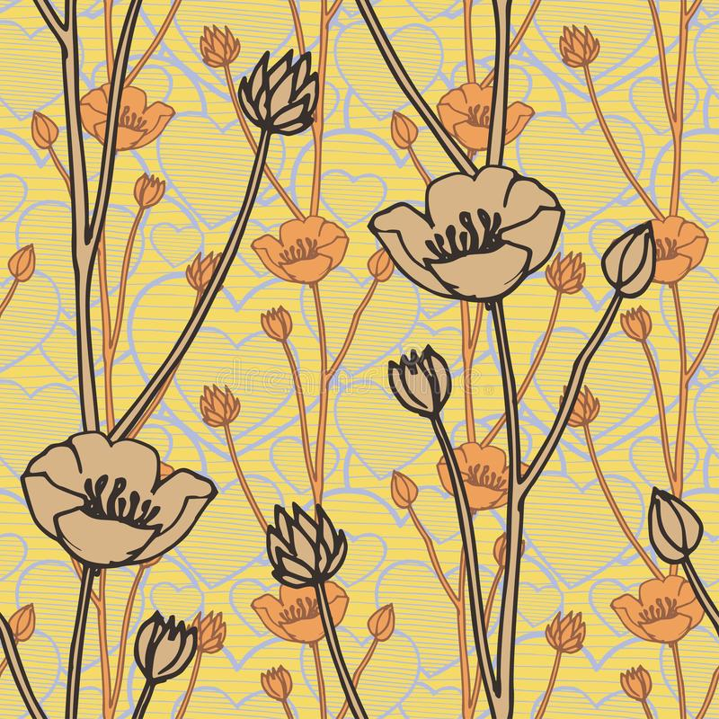 Vector seamless pattern with hand drawing wild flowers and doodle hearts, botanical illustration, floral elements, hand stock illustration