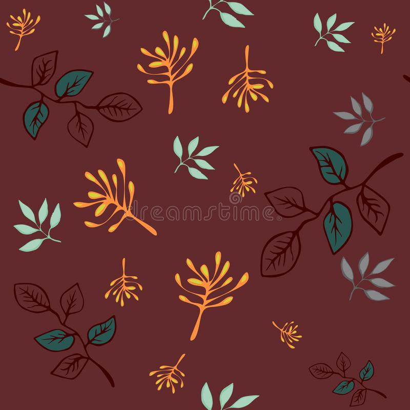 Vector seamless pattern. hand drawing wild plants, herbs doodle flowers, colorful botanical illustration, floral vector illustration