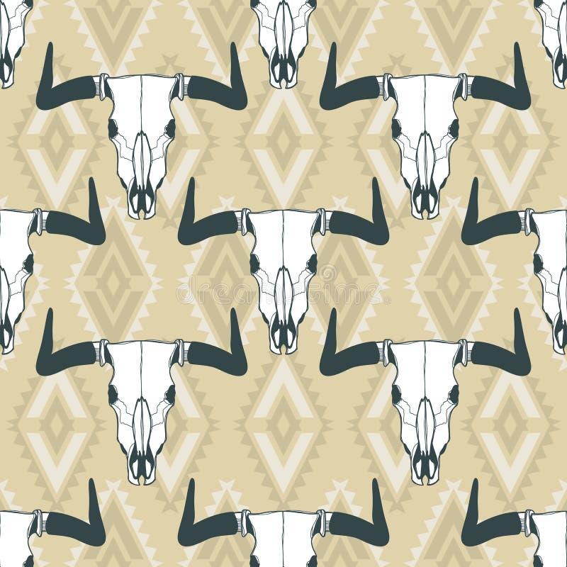 Vector seamless pattern with hand drawn buffalo skulls. Tribal style geometric ornament. stock illustration