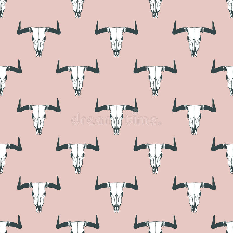 Vector seamless pattern with hand drawn buffalo skulls. Tribal style pastel background. stock illustration