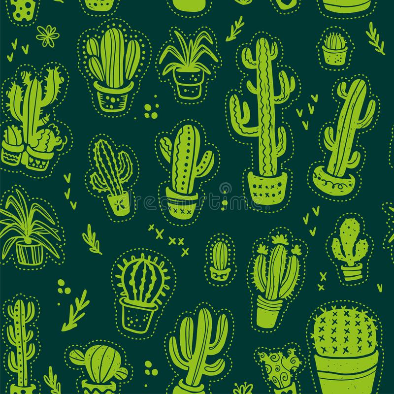 Vector seamless pattern with hand drawn cactus elements isolated on dark background. stock illustration