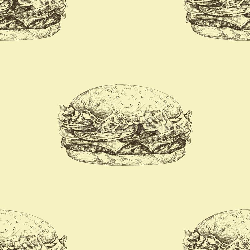 Vector seamless pattern with hand drawn delicious burgers stock illustration