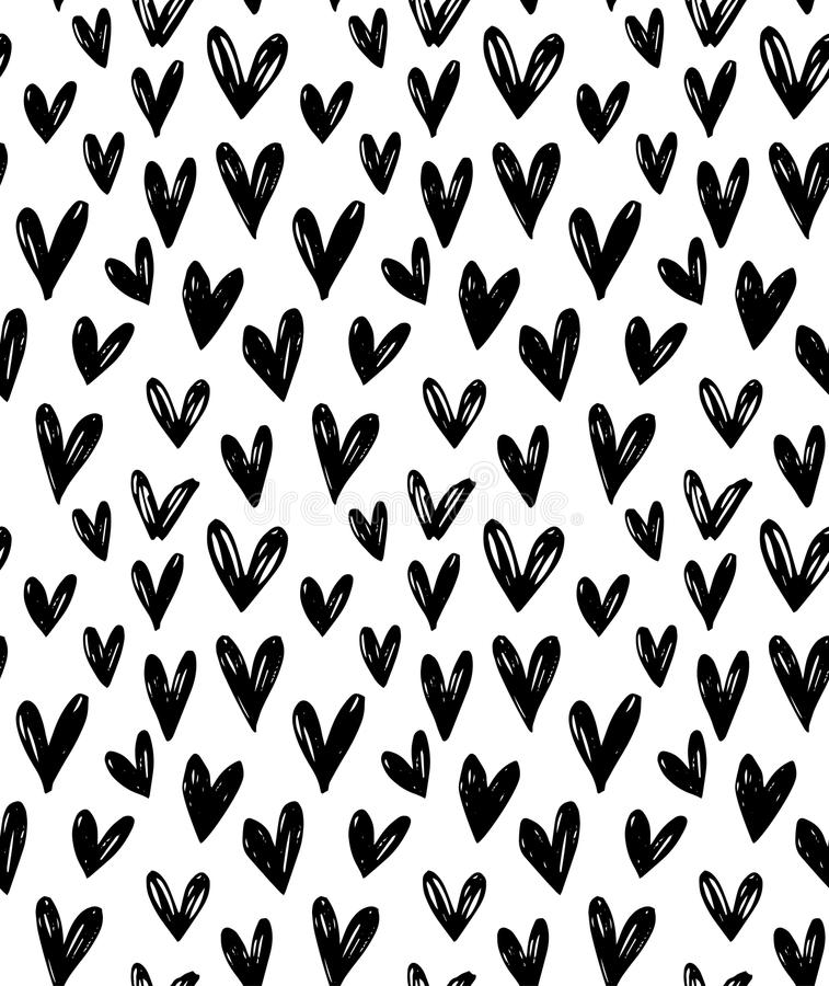 Vector seamless pattern with hand drawn doodle black small hearts. royalty free illustration