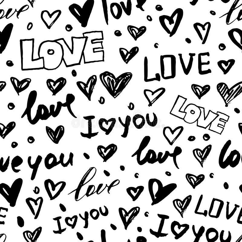 Vector seamless pattern with hand drawn doodle hearts and word love. Trendy design concept for fashion textile print. Vector seamless pattern with hand drawn royalty free illustration