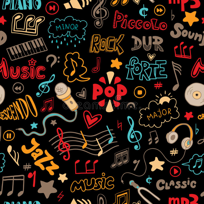 Vector seamless pattern of hand drawn doodles on a music theme. stock illustration