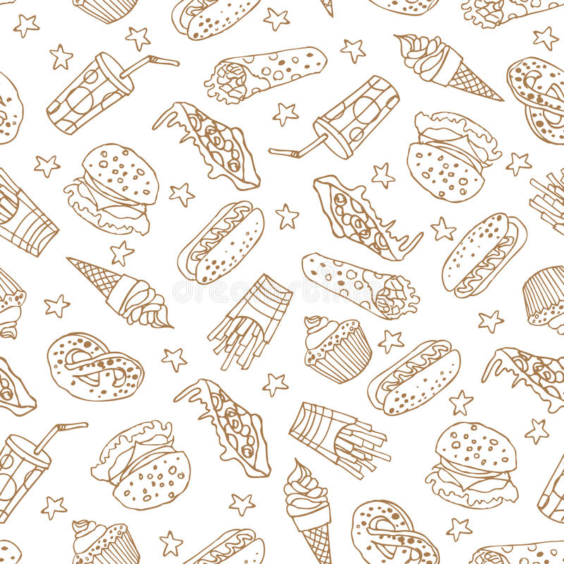 Seamless Pattern With Hand Drawn Watercolor Ice Cream: Vector Seamless Pattern With Hand Drawn Fast Food Elements