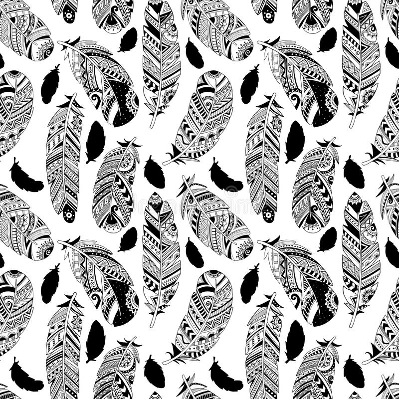 Vector seamless pattern with hand-drawn feathers stock illustration