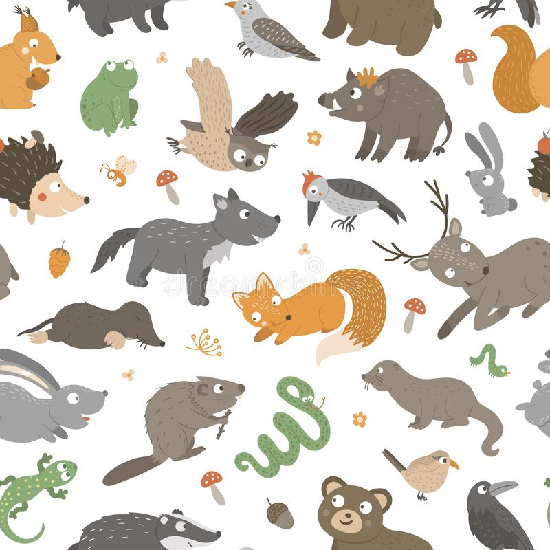Vector seamless pattern with hand drawn flat funny animals. Cute repeat background with forest creatures. Sweet woodland ornament royalty free illustration