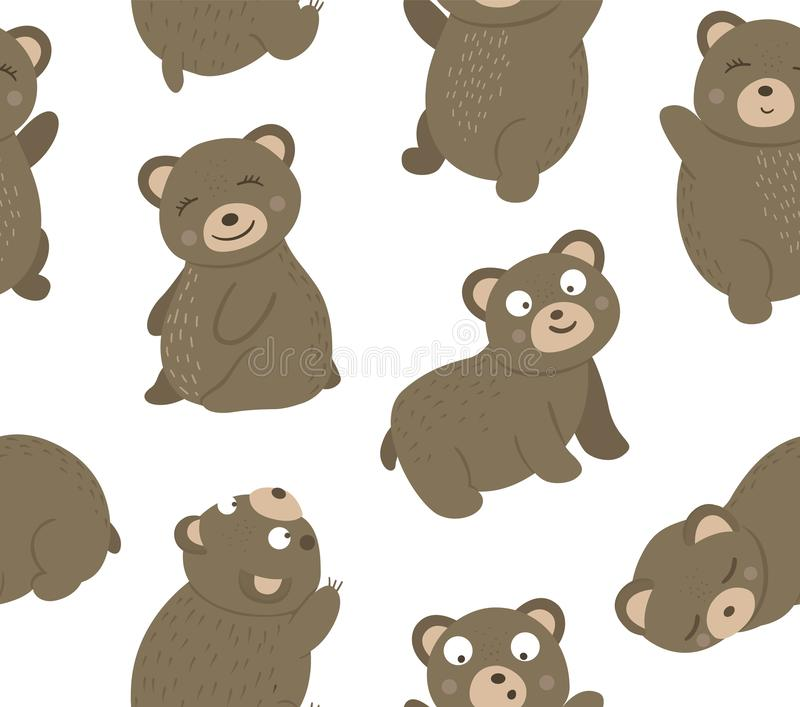 Vector seamless pattern of hand drawn flat funny bears in different poses. Cute repeat background with woodland animals. Cute stock illustration