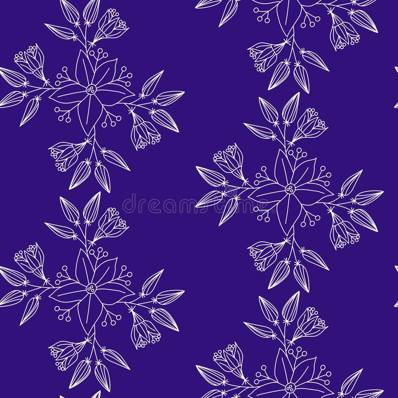Vector seamless pattern, hand drawn floral elements on indigo background. stock illustration