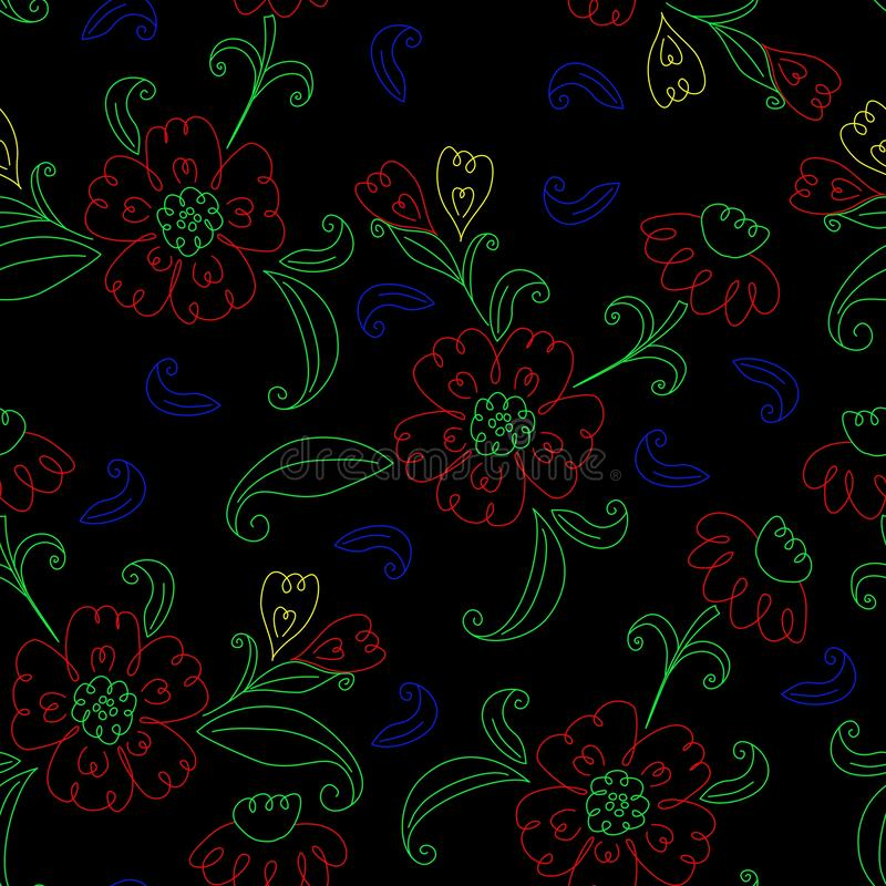 Vector seamless pattern, hand drawn floral elements. stock illustration