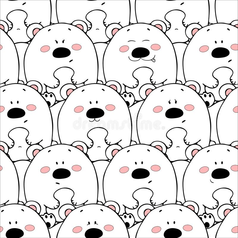 Vector seamless pattern with hand-drawn funny cute fat animals. Silhouettes of animals on a white background. Fun texture with. Bears. Design concept for stock illustration