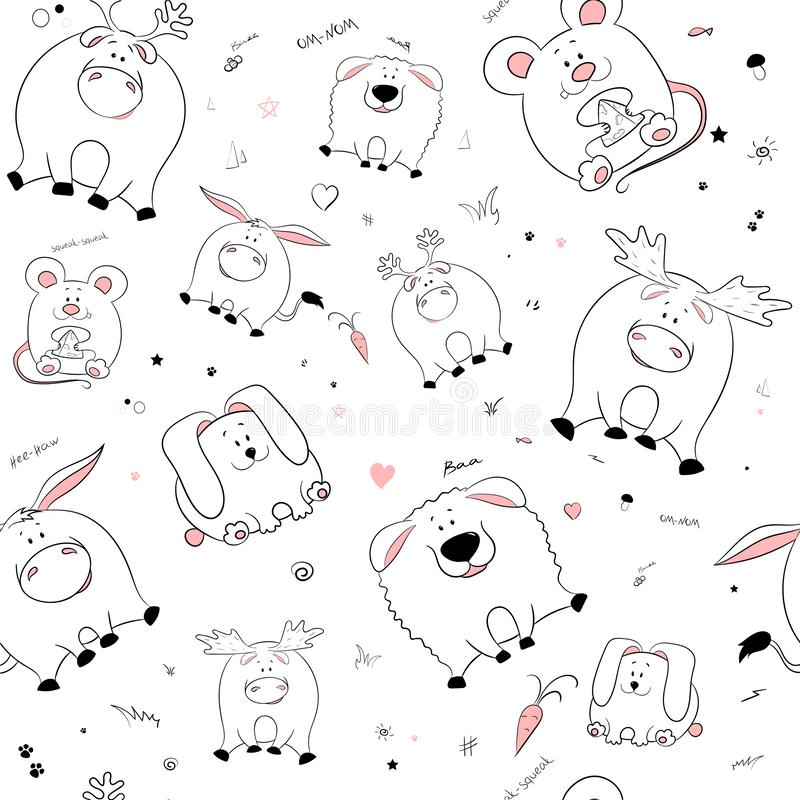 Vector seamless pattern with hand-drawn funny cute fat animals. Silhouettes of animals on a white background. Fun texture with. Donkey, rabbit, mouse, deer vector illustration