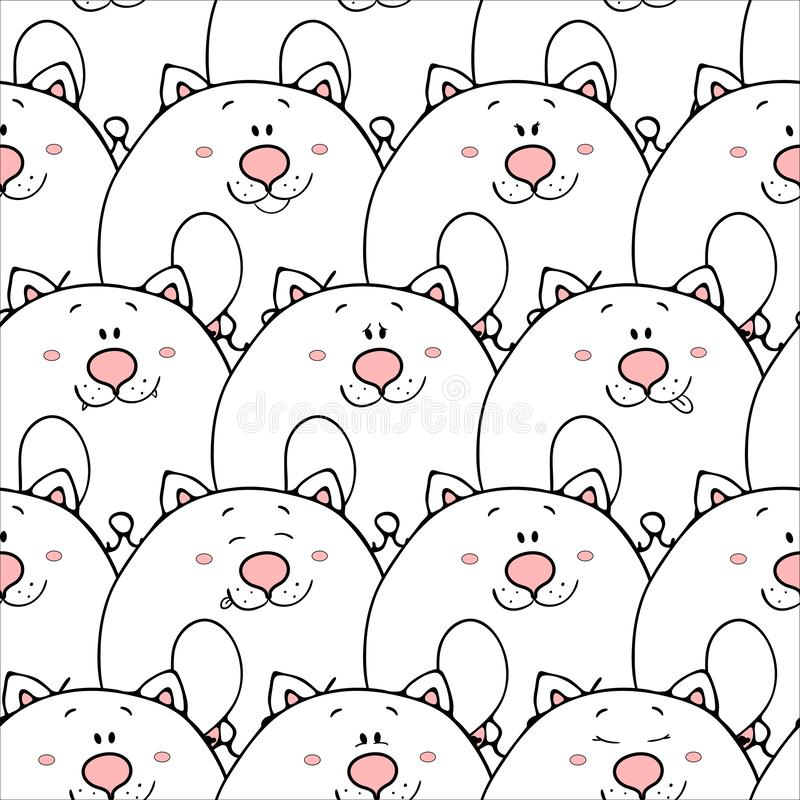 Vector seamless pattern with hand-drawn funny cute fat animals. Silhouettes of animals on a white background. Fun texture with. Cats. Design concept for vector illustration