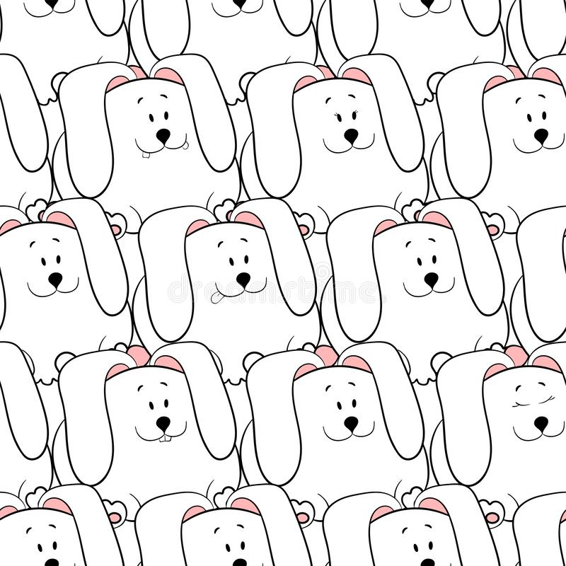 Vector seamless pattern with hand-drawn funny cute fat animals. Silhouettes of animals on a white background. Fun texture with. Rabbits. Design concept for royalty free illustration