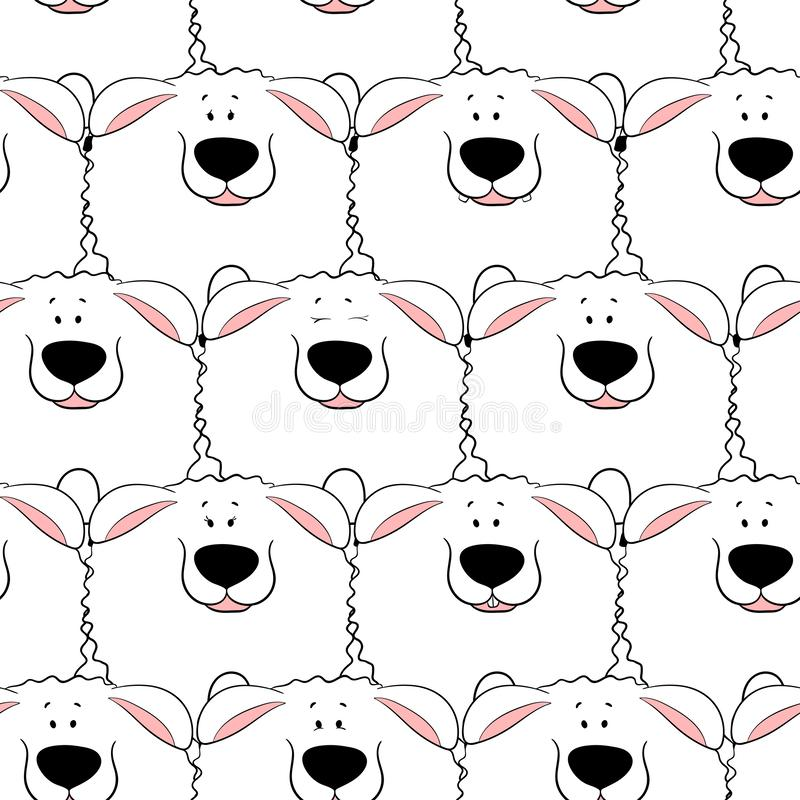 Vector seamless pattern with hand-drawn funny cute fat animals. Silhouettes of animals on a white background. Fun texture with. Sheeps. Design concept for vector illustration