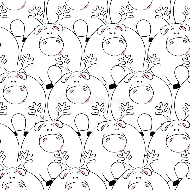 Vector seamless pattern with hand-drawn funny cute fat animals. Silhouettes of animals on a white background. Fun texture with. Deers. Design concept for royalty free illustration
