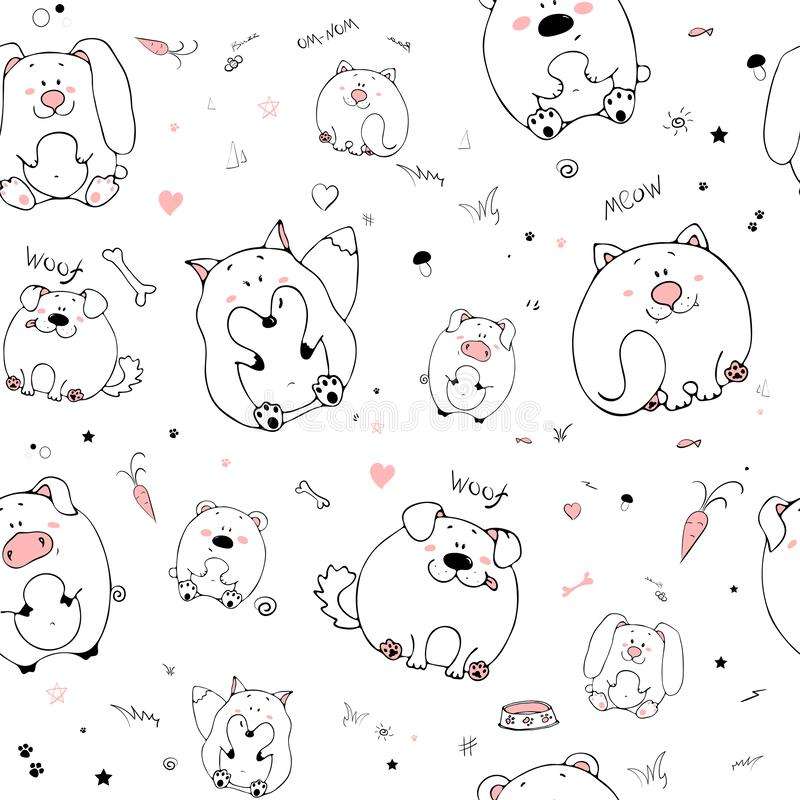 Vector seamless pattern with hand-drawn funny cute fat animals. Silhouettes of animals on a white background. Fun texture witn vector illustration