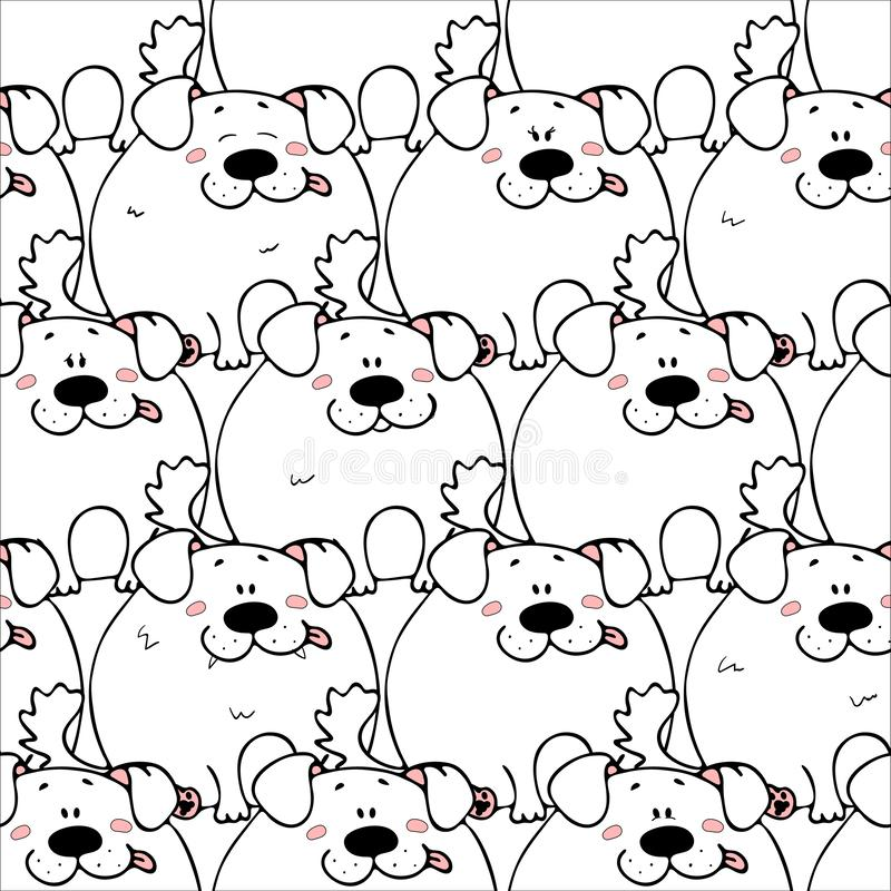 Vector seamless pattern with hand-drawn funny cute fat animals. Silhouettes of animals on a white background. Fun texture with. Dogs. Design concept for stock illustration
