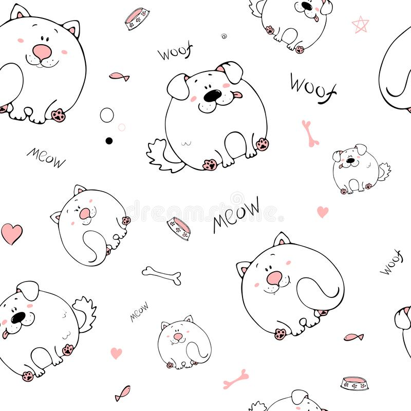 Vector seamless pattern with hand-drawn funny cute fat animals. Silhouettes of animals on a white background. Fun texture with cat. And dog. Design concept for stock illustration
