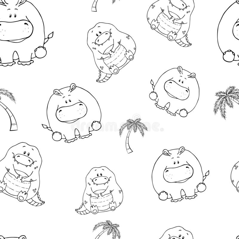 Vector seamless pattern with hand-drawn funny cute fat animals. Silhouettes of animals on a white background. Fun texture with. Crocodile and hippo. Design stock illustration