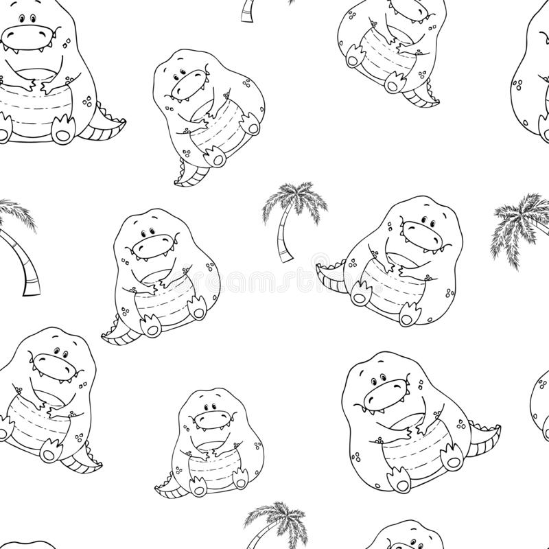 Vector seamless pattern with hand-drawn funny cute fat animals. Silhouettes of animals on a white background. Fun texture with. Crocodile. Design concept for royalty free illustration