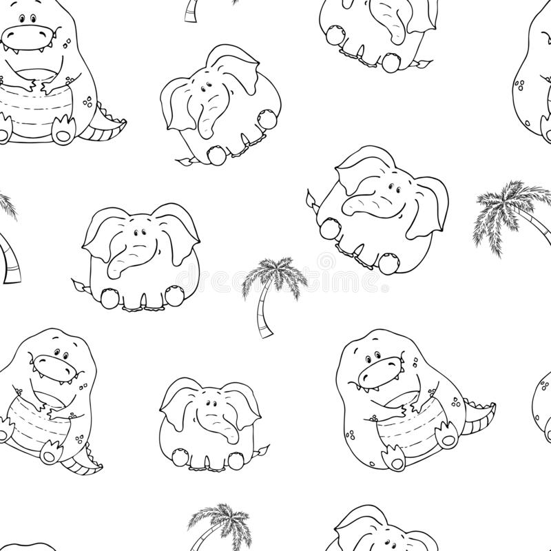 Vector seamless pattern with hand-drawn funny cute fat animals. Silhouettes of animals on a white background. Fun texture with. Elephant and crocodile. Design royalty free illustration