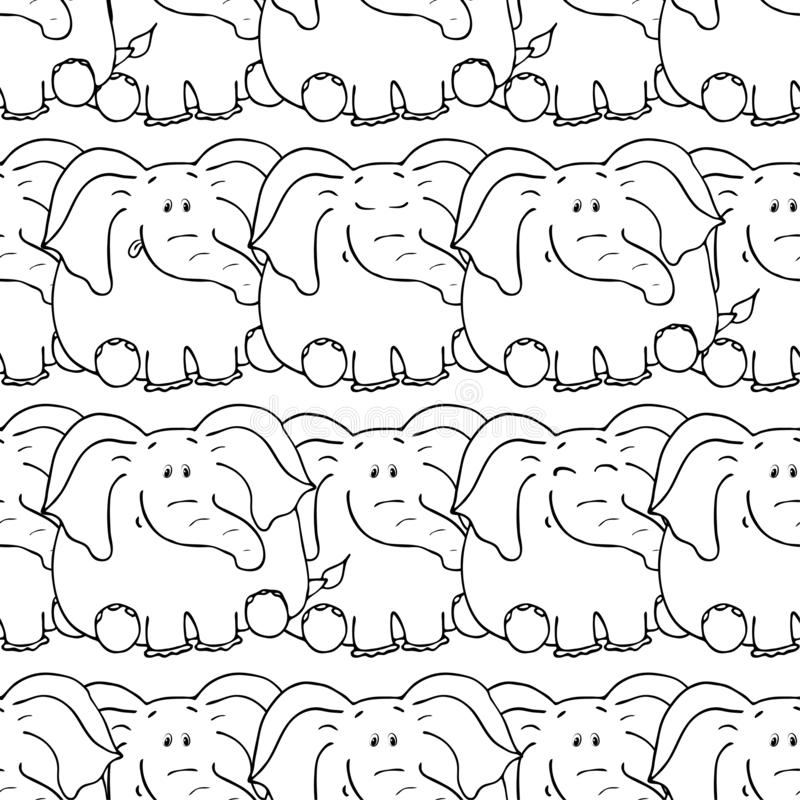 Vector seamless pattern with hand-drawn funny cute fat animals. Silhouettes of animals on a white background. Fun texture with. Elephant. Design concept for royalty free illustration