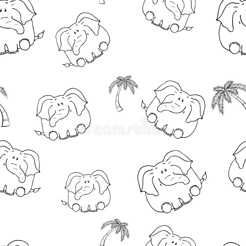 Vector seamless pattern with hand-drawn funny cute fat animals. Silhouettes of animals on a white background. Fun texture with. Elephant. Design concept for stock illustration