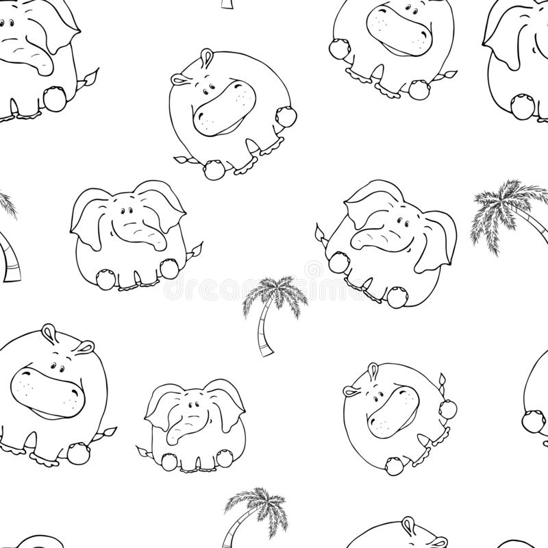 Vector seamless pattern with hand-drawn funny cute fat animals. Silhouettes of animals on a white background. Fun texture with. Elephant and hippo. Design royalty free illustration