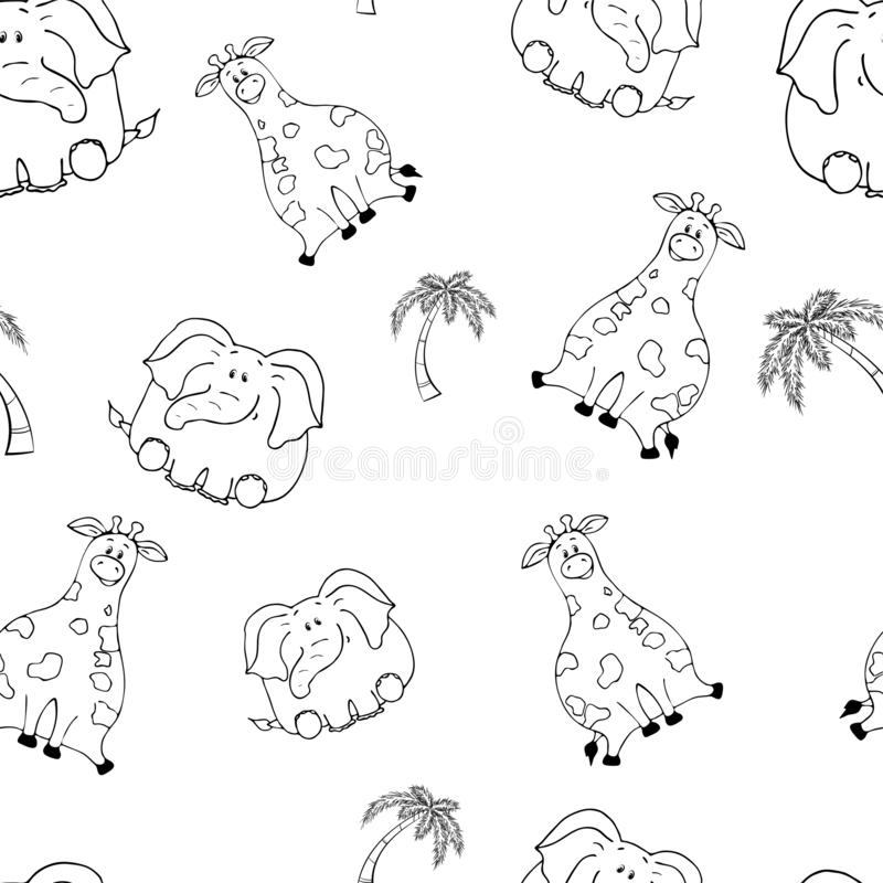 Vector seamless pattern with hand-drawn funny cute fat animals. Silhouettes of animals on a white background. Fun texture with. Giraffe and elephant. Design vector illustration