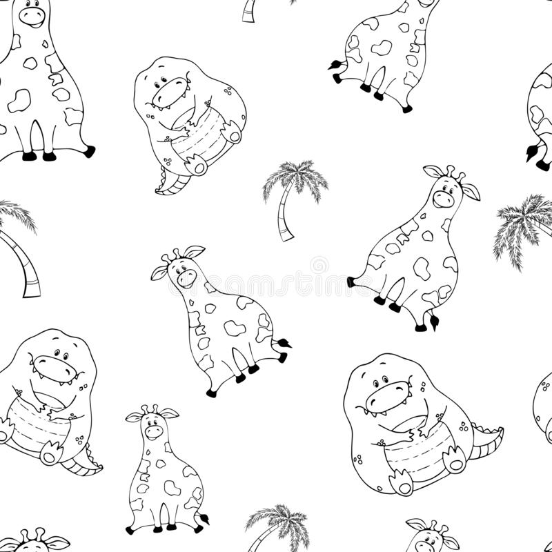 Vector seamless pattern with hand-drawn funny cute fat animals. Silhouettes of animals on a white background. Fun texture with. Giraffe and crocodile. Design royalty free illustration