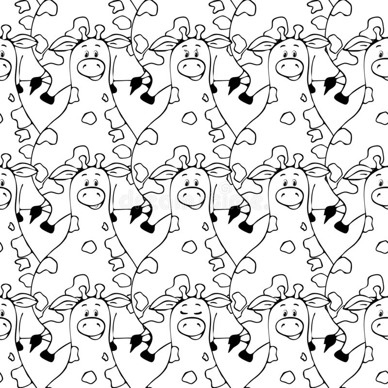 Vector seamless pattern with hand-drawn funny cute fat animals. Silhouettes of animals on a white background. Fun texture with. Giraffe. Design concept for royalty free illustration