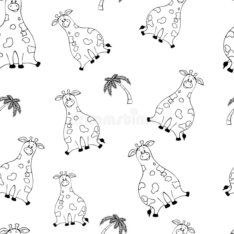 Vector seamless pattern with hand-drawn funny cute fat animals. Silhouettes of animals on a white background. Fun texture with. Giraffe. Design concept for vector illustration