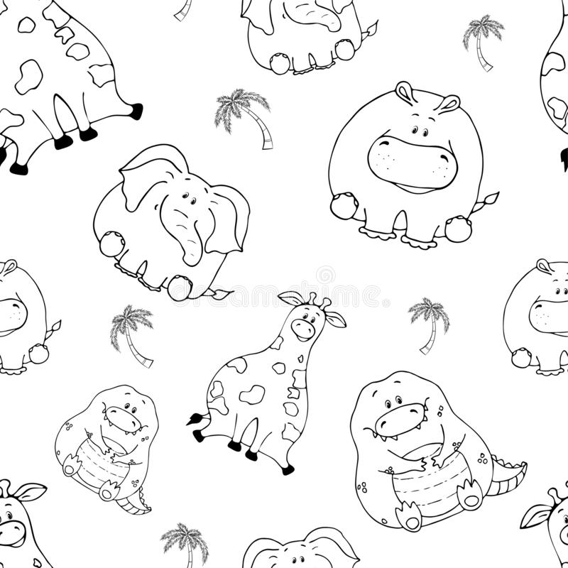 Vector seamless pattern with hand-drawn funny cute fat animals. Silhouettes of animals on a white background. Fun texture with royalty free illustration