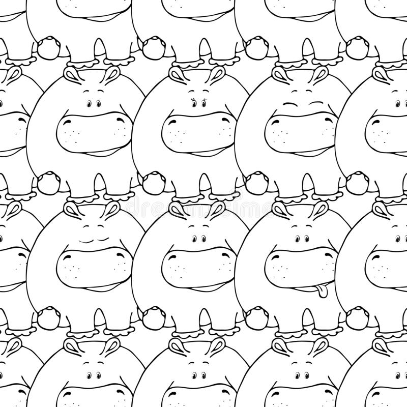 Vector seamless pattern with hand-drawn funny cute fat animals. Silhouettes of animals on a white background. Fun texture with. Hippo. Design concept for stock illustration