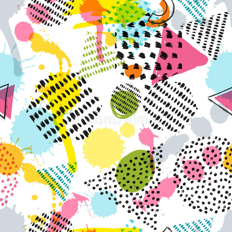 Vector seamless pattern with hand drawn geometric shapes on white background. Abstract doodle texture. Trendy design for fashion textile prints, fabric, and vector illustration