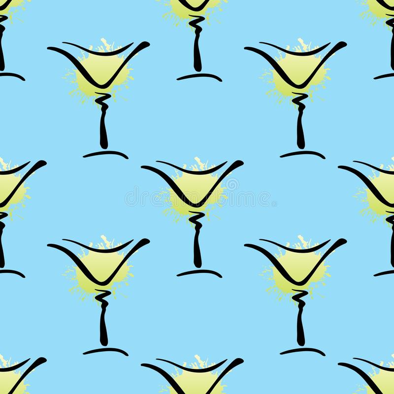 Vector seamless pattern with hand drawn glass of Margarita cocktail on blue. Background. Cute background with summer cocktails Margarita or Dry Martini for stock illustration