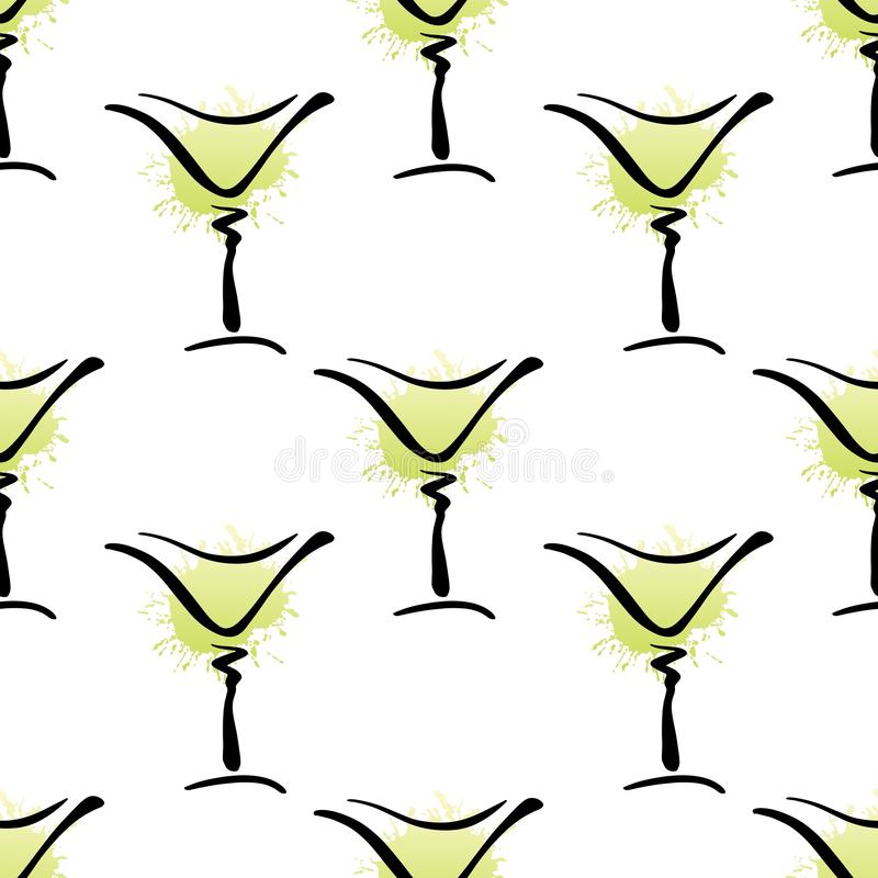 Vector seamless pattern with hand drawn glass of Margarita cocktail on white vector illustration