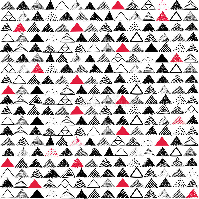 Vector seamless pattern. Hand drawn grayscale triangles with red patches on white background. stock illustration