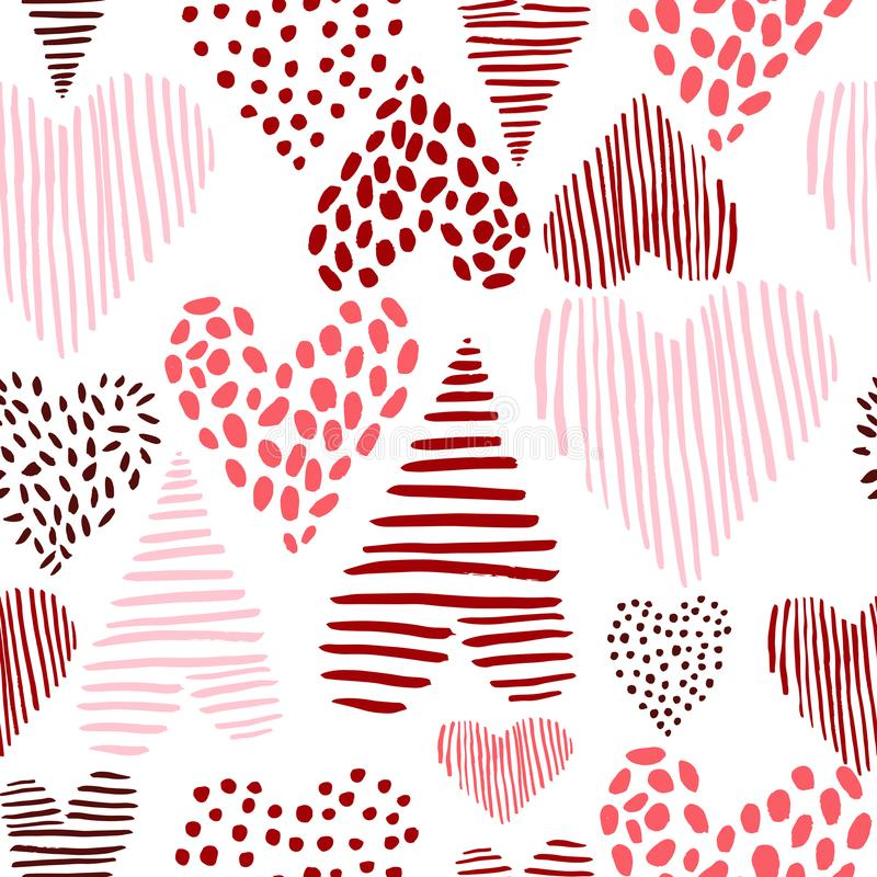 Vector pattern with hand-drawn hearts. Vector seamless pattern with hand-drawn hearts on white background royalty free illustration