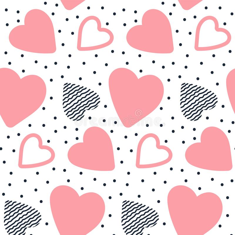Vector seamless pattern with hand drawn hearts. stock illustration